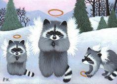 ACEO Print Raccoon Baby Angel Wings Snow | eBay