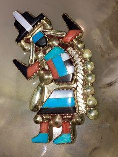 Zuni Vintage Rainbow Man pendant/Pin signed G & P Vacit Collectors Piece