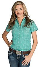 Rough Stock by Panhandle Women's Turquoise with Vintage Paisley Print Short Sleeve Western Shirt