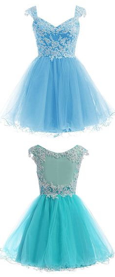Fabulous Blue Prom Dresses,A-line V-neck Homecoming Dresses,Tulle Short/Mini Lace Cocktail Dress
