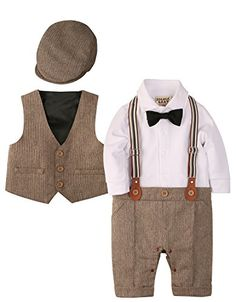 ZOEREA Baby Boy Outfits Set, Long Sleeves Gentleman Jumpsuit & Vest Coat & Berets Hat with Bow Tie – Grace Rowe's Toddler Collections Baby Outfits, Fur Vest Outfits, Sunday Outfits, Newborn Outfits, Boys Formal Suits, Boys Suits, Vest Coat, Western Outfits, Baby Shower Outfit For Guest