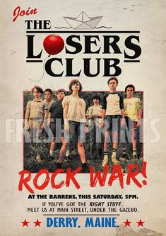 Aesthetic Quotes Discover Your place to buy and sell all things handmade The Losers Club Rock war poster IT Poster It, Club Poster, Poster Wall, Poster Prints, Movie Prints, Bedroom Wall Collage, Photo Wall Collage, Picture Wall, It Movie 2017 Cast
