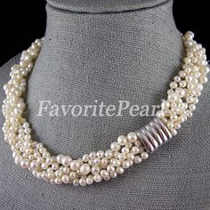 Wedding Pearl Necklace - 16 Inches 5-Row 4-7mm White Color Natural Freshwater Pearl Necklace