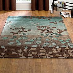 """Beautiful leaf """"mocha"""" rug. 2'3''x3'9'' = $40.00 at jcpenny. green brown mint"""