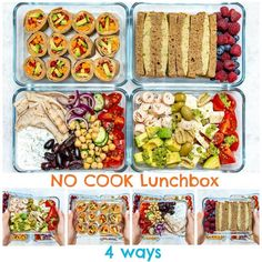 Clean Eating Lunch Boxes 4 Creative Ways! No-Cook Cold Lunch Boxes 4 Ways for Clean Eating!No-Cook Cold Lunch Boxes 4 Ways for Clean Eating! Clean Eating Recipes, Clean Eating Snacks, Lunch Recipes, Healthy Snacks, Healthy Eating, Cooking Recipes, Healthy Recipes, Cooking Games, Healthy Cold Lunches