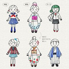 Illustrations of various fashions Pen Doodles, Kawaii Doodles, Cute Doodles, Doodle Drawings, Doodle Art, Easy Drawings, Pen Illustration, Character Illustration, Character Concept