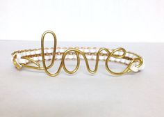 Two Toned Gold Love Cobra Bracelet by TracysiCandy on Etsy, $8.00