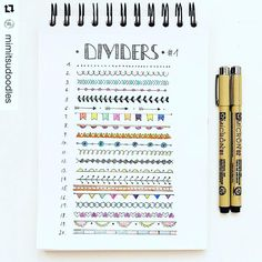 "2,338 Likes, 12 Comments - Planner Inspiration (@showmeyourplanner) on Instagram: ""Add some colorful dividers to your bullet journal or #planner. Courtesy of @mimitsudoodles) ・・・…"""