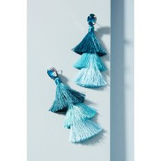 Anthropologie Cha Cha Tassel Drop Earrings ($48) ❤ liked on Polyvore featuring jewelry, earrings, hawaiian blue, blue tassel earrings, tassel earrings, drop earrings, fringe earrings and blue jewelry