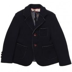 Hitch-Hiker  Boys Blue Knitted Wool Blend Blazer with Rough Edging  $211.65