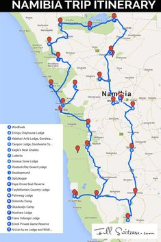 Complete Namibia trip itinerary with a map and detailed day-to-day explanation o. Complete Namibia trip itinerary with a map and detailed day-to-day explanation of our family's road trip. Featuring our personal recommendations and best tips! Travel Maps, Africa Travel, Travel Packing, Budget Travel, Places To Travel, Travel Photos, Travel Destinations, Travel Route, Tourist Places
