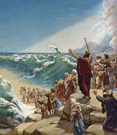 "Exodus Red Sea Crossing.  Exodus 14:16-17.   16 The Lord said to Moses, ""Why do you cry to me?   17 Tell the people of Israel to go forward.  16 Lift up your staff, and stretch out your hand over the sea and divide it, that the people of Israel may go through the sea on dry ground.  17 And I will harden the hearts of the Egyptians so that they shall go in after them, and I will get glory over Pharaoh and all his host, his chariots, and his horsemen."