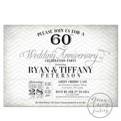 60th Wedding Anniversary Invitations Diamonds Diamond