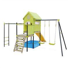 Aire de jeux Bora, toboggan, balançoires, cabane, mur d'escalade, petite piscine