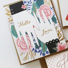 Hello Lover gold foil letterpress card to say I love you - Bespoke Letterpress - Stationery Paper, Stationery Design, Birthday Gift Wrapping, Birthday Cards, Love Cards, Thank You Cards, Gift Cards, Engagement Cards, Friendship Cards