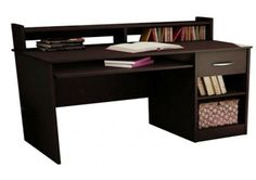 Study table with drawer, racks and open table top made up of plywood with laminate finish. The dark wood color makes the product look irresistible. This table saves space and lets you fit in a good number of essentials in an organized manner. Luxury Furniture Stores, Buy Furniture Online, Wooden Study Table, Room Interior Design, Table Desk, Wood Colors, Space Saving, Office Desk, Corner Desk