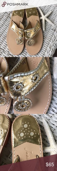 Jack Rogers NWOT Hampton metallic sandals These adorable and classic Jack Rogers gold metallic sandals feature silver laces.  NWOT - perfect condition! Jack Rogers Shoes Sandals