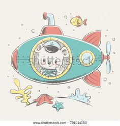 Cute baby bear sailor on a submarine cartoon hand drawn vector illustration. Can be used for baby t-shirt print, fashion print design, kids wear, baby shower celebration, greeting and invitation card.
