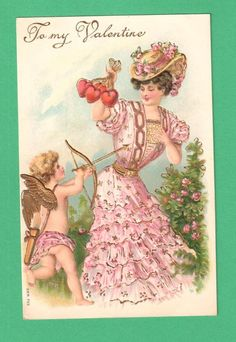 VINTAGE VALENTINE'S DAY POSTCARD CUPID ARROW BEAUTIFUL LADY STRING OF HEARTS #ValentinesDay