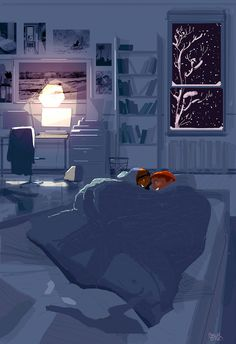 The best place to be on a snowy night by PascalCampion.deviantart.com on @DeviantArt