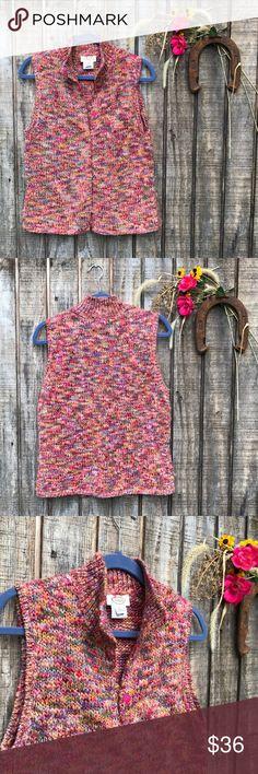Beautiful Boho Snap Up Crochet Rainbow Vest Great condition Talbots Tops