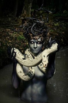 'Medusa' Photography, Concept, body-paint, makeup, and headdress: Chloe Barcelou- Artist Model: Hally Sheely Hair: Janet Dolan Snake: Cow Reticulated Python from New England Reptile Post-process: John Hession Medusa Makeup, Medusa Art, Greek Monsters, Dark Beauty Magazine, Goth Art, Mystique, Mythological Creatures, Mythical Creatures, Headdress