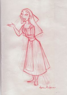 Mark Pudleiner: One of  my rough character sketches of ' Nina ' from Disney's Animated feature ' Kingdom of the Sun '. This movie was stopped and reworked to become the feature 'The Emperors New Groove'