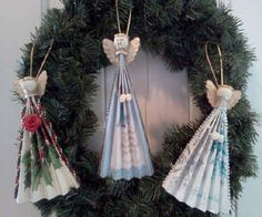 DIY Homemade Christmas Ornaments at BetterBudgeting: Christian rustic Angel Fans with recycled Christmas cards, easy to make!