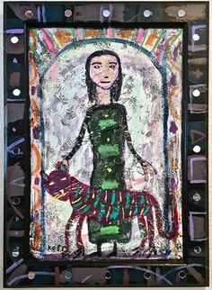 Woman in Green Dress.  Frame embellished with round mirrors.  Acrylic and textural medium on wood panel.  Measures 22 1/4 x 16 inches including frame.  Ready to hang.  Contemporary folk art.