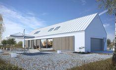 Ekonomiczny 4A - wizualizacja 2 - nowoczesna stodoła z dwustanowiskowym garażem i antresolą