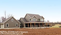 "<ul><li><strong></strong>This traditional country home plan is bedecked with a covered wrap-around front porch which is 8' deep, 50' wide plus 13' on either side. There are two more covered porches flanking a screened porch, each 20'2"" x 8"" (167 s.f.)  with a 14' sloped ceiling.</li><li>Opening to one of the rear porches, the private master suite includes a walk-in closet and a five-fixture bath.</li&..."