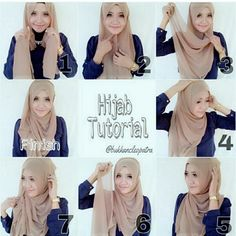 Really cute and simple for every day How To Wear Hijab, Hijab Wear, Hijab Outfit, Islamic Fashion, Muslim Fashion, Hijab Fashion, Turban Tutorial, Hijab Style Tutorial, Hashtag Hijab