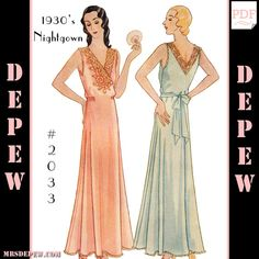 This is a full-sized digital reproduction of an incredibly rare 1930s Ladies nightgown sewing pattern. The gown can be sewn in as illustrated with an