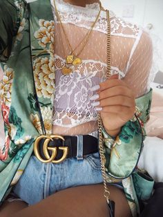 white lace top + green kimono + gucci belt + high waisted jean shorts | style inspiration