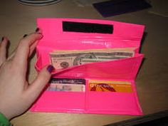 make your own duct tape wallet, I saw similar wallets for sale in plain grey - this is way more fun!