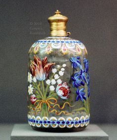 Vintage,,Perfume Bottle with Stemmed Flowers, Germany ,circa 18th Century