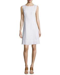 TBVU6 Lafayette 148 New York Laurette Sleeveless Linen A-Line Dress
