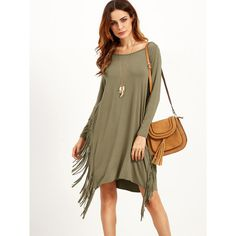 SheIn(sheinside) Olive Green Long Sleeve Fringe Dress (25 BAM) ❤ liked on Polyvore featuring dresses, long sleeve short dress, brown long sleeve dress, long-sleeve maxi dresses, long sleeve shift dress and long sleeve dress