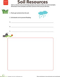 Worksheets: Natural Resources: Soil. (2nd grade w/s)