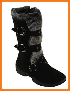 Forever Women's Emily-8 Faux Suede Square-toe Flat Heel Mid-Calf Boots