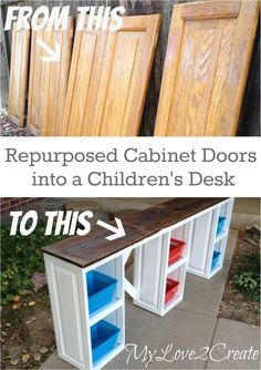 Cabinet Doors into a Desk My Love 2 Create makes a great desk for the kids out of repurposed cabinet doors and free/scrap wood.My Love 2 Create makes a great desk for the kids out of repurposed cabinet doors and free/scrap wood. Old Cabinet Doors, Old Cabinets, Desk Cabinet, Cabinet Door Crafts, Kitchen Cabinets, Bedroom Cupboards, Cabinet Decor, Cabinet Knobs, Furniture Projects
