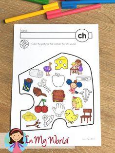 Phonics Color It: digraphs, vowel teams, r-controlled vowels by Lavinia Pop Kindergarten Freebies, Kindergarten Worksheets, Preschool Literacy, Kindergarten Teachers, Articulation Activities, Phonics, Ch Words, Ch Sound, Digraphs Worksheets