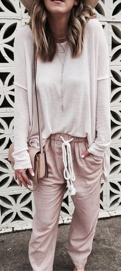 #spring #outfits Weekend Wear. These Linen Blend Joggers Are And Under $80. // White Oversized Knit + Blush Pants