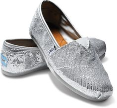 """silver sparkle toms- can find at gene lockwood $54 (mom RECEPTION """"under-my-wedding-dress-dance-shoes"""")"""