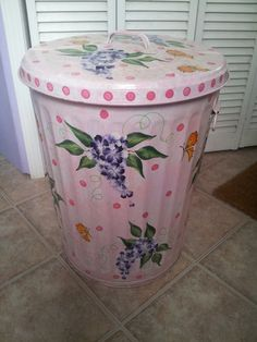 20 Gallon Hand Painted Galvanized Can by krystasinthepointe, $89.00