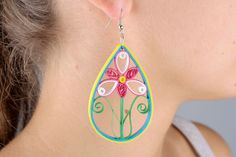 Long quilling earrings by FairyJewelries on Etsy