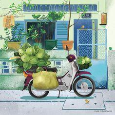 Street Carts Calandar for OceanBankHa Noi Hanoi Saigon Sai Gon Ho Chi Minh VietnamVuon IllustrationChildren Picture Book