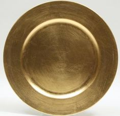 """12.99 SALE PRICE! Sold as a set of 6, our 13"""" gold charger plates are finished with gold leaf on acrylic. Enhance the appearance of your reception table..."""