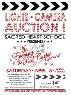 "Each year, the children of Sacred Heart School (SHS) benefit from the generosity of businesses and individuals who choose to make a donation in support of our biggest fund-raiser, the Annual Auction.  This years 2014 Auction Committee is presenting the Annual Benefit Auction- ""Lights, Camera, Auction! An Evening on the Red Carpet!"" and will feature New York Broadway Tours!  This year's Annual Auction will be Saturday, April 5, 2014 at 6:00pm in the SHS gymnasium in Hampton, NH."