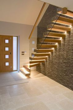 ✔ 55 Beautiful Staircase Decor Ideas For A New HomeYou can find Modern staircase and more on our website.✔ 55 Beautiful Staircase Decor Ideas For A New Home Home Stairs Design, Railing Design, Interior Stairs, Modern House Design, Staircase Design Modern, Home Modern, Stairs Light Design, Stairs Tiles Design, Stair Design